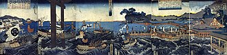 Battle of Miyajima - Scroll depicting the invasion by Mōri forces (ca.1855)