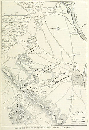 Battle of Talavera - A map of the final French attack