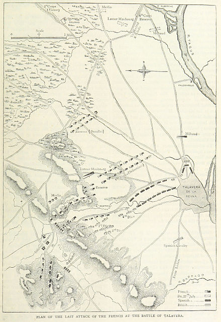 A map of the final French attack Battle of Talavera final attack.jpg