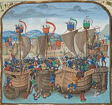 Four sturdy wooden ships lying side by side filled with men armed with shields, swords and bows fighting in a confused melee