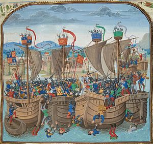 A colourful Medieval depiction of a naval battle