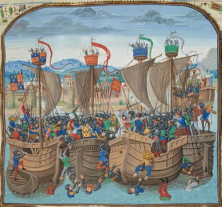 The Battle of Sluys as depicted in Froissart's Chronicles; late 14th century BattleofSluys.jpeg