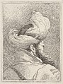 Bearded man wearing a turban, depicted in bust length from behind in three-quarters view, from the series 'Collection of heads' (Raccolta di teste) MET DP832518.jpg