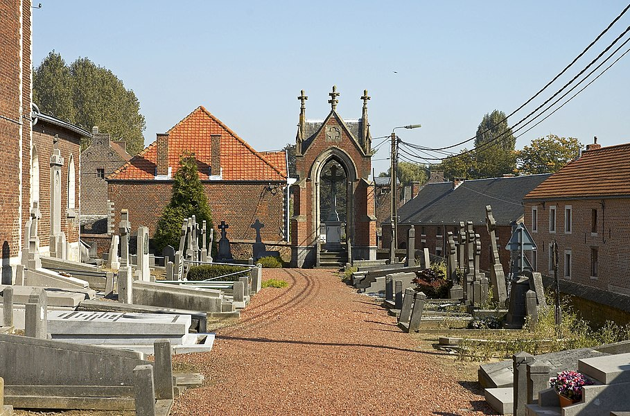 Cemetery of church Saint Sulpice in Beauvechain, Belgium
