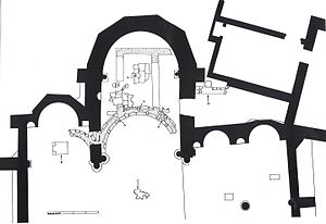 Bedesten, Nicosia - Bedesten, Nicosia. Plan of the east end showing early Byzantine apse. Key: A. holes cut in the Byzantine fabric for centring while the current structure was being built; B. base of late medieval altar; C. Cosmatesque fragments under the dome, probably 15th century; D. Ottoman period well-casing in brick.
