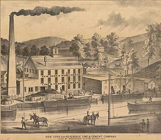 Rosendale cement - Lithograph of Rosendale cement production site in Ulster Count, NY.