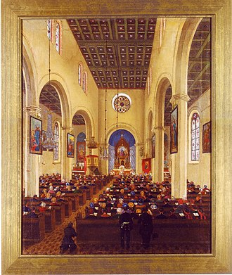 St. Marien am Behnitz - The interior on an oil painting from 1861