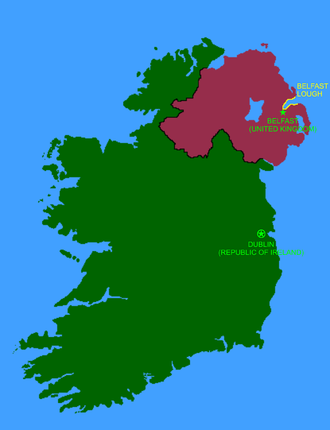 Belfast Lough - The island of Ireland, with the Republic of Ireland in green, Northern Ireland (UK) in magenta, and Belfast Lough in yellow.