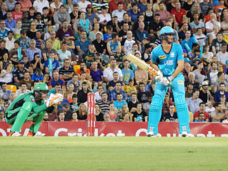 Big Bash League - Ben Cutting of Brisbane Heat batting against Melbourne Stars in 2014