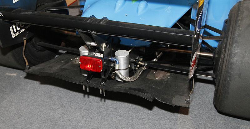 File:Benetton B190 diffuser 2010 Pavilion Pit Stop.jpg