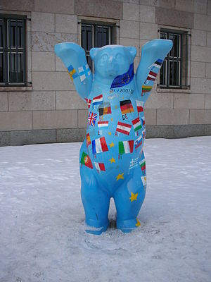 Niederkirchnerstraße - The Europe-Buddy-Bear in front of the Federal Ministry of Finance in the Niederkirchnerstrasse