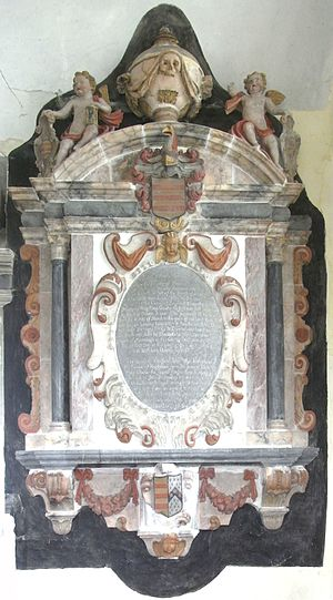Molland - Mural monument erected in 1684 in Molland Church by Sir John Berry to his father Rev. Daniel Berry (1609–1654)