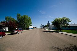 Street scene in Berthold, North Dakota