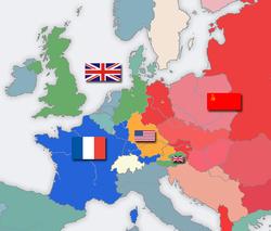 Zonas ocupadas pelos Aliados na Alemanha e na Áustria no pós-guerra. 8297664e4e0f1