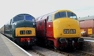 British Rail - As BR modernised, diesel and electric locomotion gradually replaced steam. Pictured: two preserved 'Warship' class diesel-hydraulics