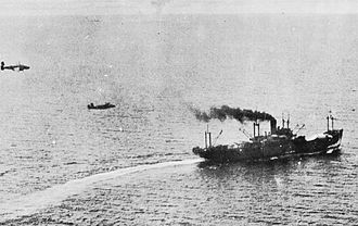 Battle of the Bismarck Sea - Allied aircraft execute a low-level attack on a Japanese ship