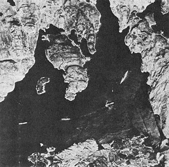 German battleship Bismarck - Aerial reconnaissance photo showing Bismarck anchored (on the right) in Norway