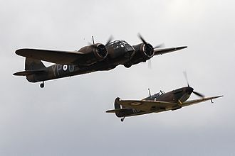 Bristol Blenheim - A Blenheim Mk I in formation flight with a Supermarine Spitfire