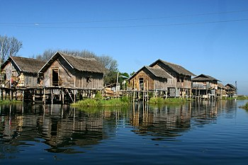 Stilt houses at Lake Inle, Myanmar.
