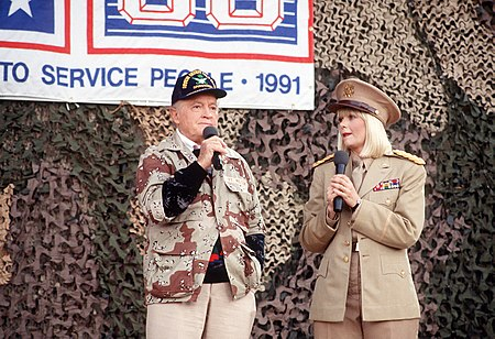 Hope and actress Ann Jillian perform in the USO Christmas Tour during Operation Desert Shield, 1990 Bob Hope and Ann Jillian.jpg