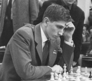 Bobby Fischer at the age of 17 playing world c...