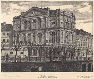 Provisional Theatre (Prague) - Prague Provisional Theatre on historic painting