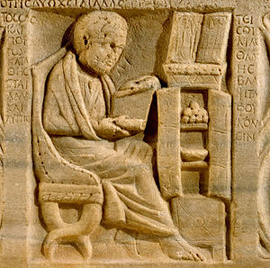 Allegorical interpretations of Plato -  The earliest depiction of a Roman book cabinet or armarium, with scrolls inside on the upper shelf. From a sarcophagus dated to 200 -- 300 CE, i.e, about the time Plotinus was in Rome. Though found in Ostia, a port near Rome, the Greek inscription suggests a Greek resident. The open case containing surgical tools on the cabinet top, the other scrolls, and a basin for bleeding patients within the cabinet suggest a learned physician (Metropolitan Museum of Art, N.Y., 48.76.1).