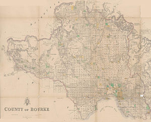 County of Bourke, Victoria - 1866 map of Bourke County showing the parishes