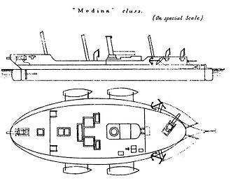 Medina-class gunboat - The deck plan of a Medina-class gunboat from Brassey's Naval Annual