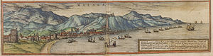 Málaga - Málaga in 1572: Castle of Gibralfaro (center)