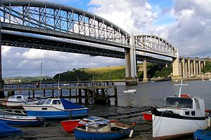 Saltash - Image: Bridges, boats and trains at Saltash