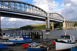 Saltash - Image: Bridges, boats and trains at Saltash