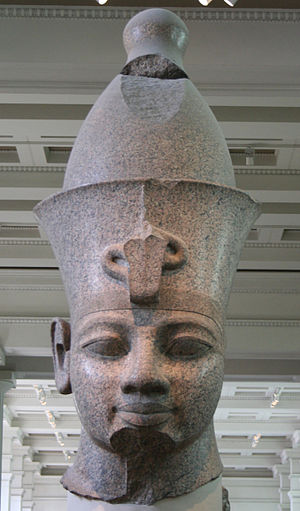 Colossal red granite statue of Amenhotep III - Colossal granite head of Amenhotep III in the British Museum