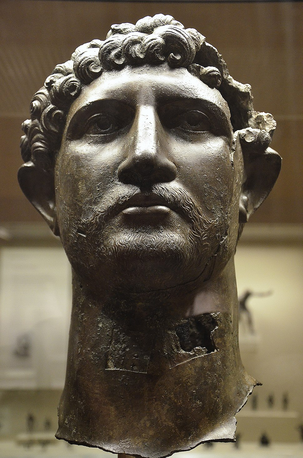 Bronze head of Hadrian found in the River Thames in London