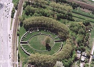 Aquincum Civil Amphitheatre - The amphitheater from the air
