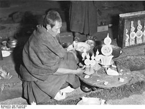 Torma - Monk making tormas in Sera Monastery in 1939