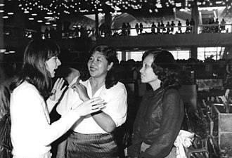 Kampuchean United Front for National Salvation - Kampuchea Revolutionary Women's Association (KRWA) leaders Nuth Kim Lay and Res Sivanna in East Germany at the Democratic Women's League of Germany-Congress in 1987