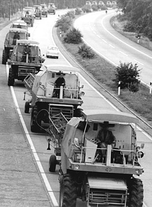Agriculture in East Germany - Combine harvesters of the type E 512 on an east german motorway