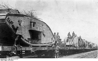 Tanks in World War I - 1917: British tanks captured by the Germans being transported by rail
