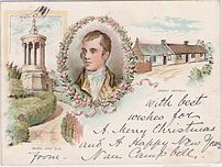 Vintage postcard dated 1899 showning Robert Burns with Burns Monument & Cottage