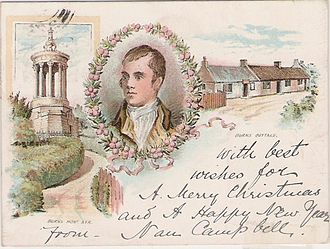 Postcard - Example of a court card, postmarked 1899, showing Robert Burns and his cottage and monument in Ayr