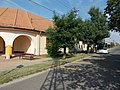 Bus stop at Weöres Sándor elementary school in Erzsébettelep, Gyömrő, Pest County, Hungary.jpg