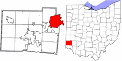 Location of Middletown in Butler County and the state of Ohio