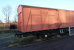 Butterley railway station, Derbyshire, England -wagon-19Jan2014.jpg