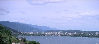 Biel/Bienne - Lake Bienne with part of Biel in the background