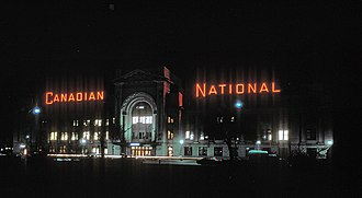 Pacific Central Station - Seen in 1981, when the large neon sign was for Canadian National Railway