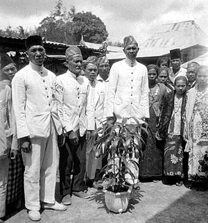 Rejangese people - Rejang village heads in Curup, Bengkulu, South Sumatra, Indonesia, circa 1939.