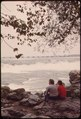 COUPLE ENJOY VIEW OF NIAGARA RIVER RAPIDS FROM THE SHORE OF GOAT ISLAND, WHICH SEPARATES THE AMERICAN AND THE... - NARA - 549471.tif