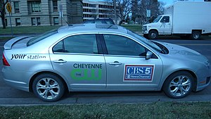 KGWN-TV - Vehicle sporting the logos of Cheyenne The CW and CBS 5 NewsChannel in 2013.