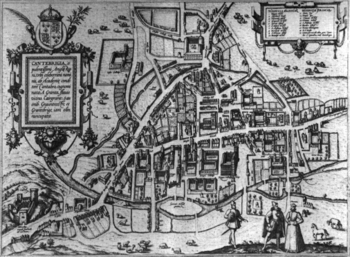 English: Map of Cambridge dated 1575. The insc...